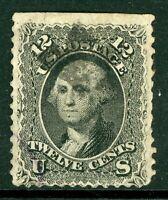 USA 1861 Washington 12¢ Black Perf 12 Scott # 69 VFU J301 ⭐⭐⭐⭐⭐⭐