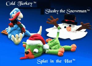 Meanies Holiday SHOCKING STUFFERS set 3 Splat the Cat Slushy Snowman Turkey Kat