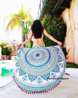Indian Ombre Mandala Round Tapestry Cotton Throw Handmade Beach Yoga Mat Throw