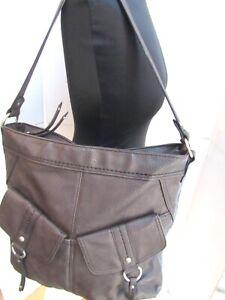 B.O.C. BOC XL Brown Vegan Leather Fringed Moto Shoulder Bag Tote Purse EXC
