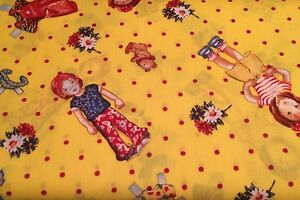 0.5 metre Spot the Children - Yellow 100% Cotton Fabric 142cm wide