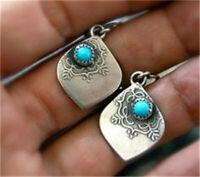 925 Silver Turquoise Leaf Ear Hook Dangle Women Wedding Fashion Jewelry Earrings