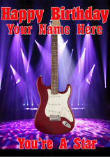 Red Wood Strat Guitar cptmi29 Happy Birthday Card A5 Personalised Greetings