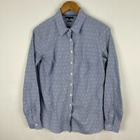 Tommy Hilfiger Womens Button Shirt Top 10 Blue Striped Long Sleeve Fitted