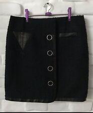 ALEXANDER WANG Women's Skirt Black Cotton/Lambskin Size 8!