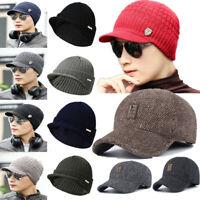 Strickmütze für Männer und Frauen Warm CapsBaseball Cap mit Ohrenschutz Hut