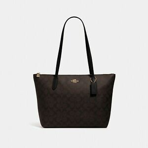 NWT Coach Zip Top Tote In Signature Canvas