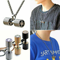 Stainless Steel Unisex Dumbbell Barbell Pendant Link Chain Necklace Jewelry