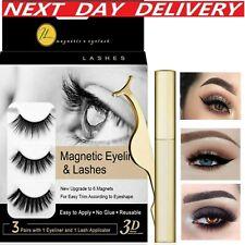 Magnetic Eyelashes and Eyeliner Set + Tweezers False Lashes Natural 5pcs Kit UK