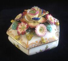 Antique Vienna Dresden Flower Encrusted Hexagonal Lidded Trinket Box Pot Beehive