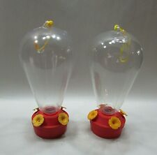Pair vintage 1990's Red Yellow Clear Plastic Hummingbird Nectar Feeder Free S/H