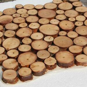100x Pine Wood Slices Round Disc Tree Bark Wooden Circles Tool Craft DIY R8T5