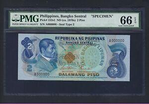 Philippines 2 Piso 1949(ND ca.1970s) P152s1 Specimen Uncirculated Grade 66