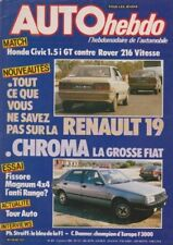 AUTO HEBDO 491 / 3 OCT 85 : RENAULT 19 FIAT CHROMA HONDA CIVIC ROVER 216