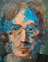 "John Lennon Abstract Portrait Psychedelic Rock Music Art Original Painting 14"""