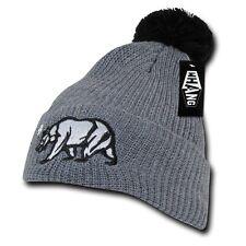 Gray California Republic Cali Bear Star Cuff Pom Hip Winter Beanie Beanies Hat