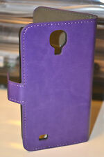 Purple Genuine Leather Wallet Case Cover for Samsung Galaxy S4 i9500 i9505 4G