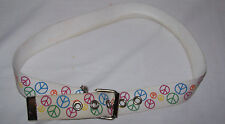 Belt Peace Signs Blue Red Yellow Woven Material Silver Metal Buckle Halloween