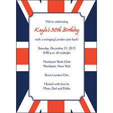 25 Personalized Birthday Party Invitations  - BP-048 - Union Jack - London Style