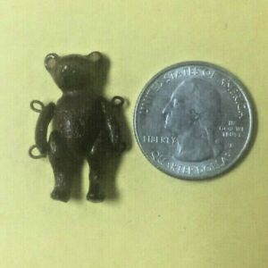 Rare Antique Dollhouse Tiny MINIATURE JOINTED TEDDY BEAR Metal Mignonette Doll