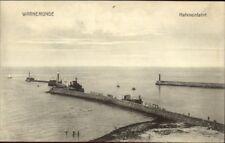 Warnemunde Germany Harbor Entrance Lighthouses c1910 Postcard