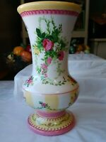 "Laura Ashley English Country Style Floral Rose & Ivy Ceramic FTD 9"" Vase"