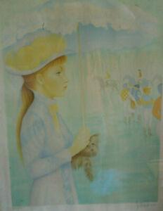 Lithographie Guy SERADOUR Deauville chevaux
