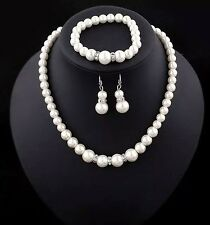 Wedding Jewellery Set Bridal Pearl Crystal Bride Necklace Bracelet Earrings New