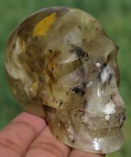 6.6OZ Fantastic Smelted Quartz Crystal Carving Art Skull