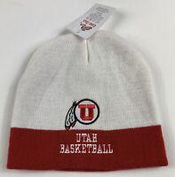 Utah Utes Basketball NCAA Team Apparel Beanie Hat Adult White Red NWT