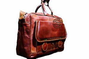 New Office Men's Genuine Leather Vintage Laptop Messenger Briefcase Bag Satchel