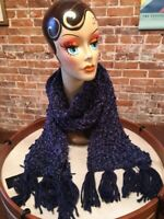 INC Navy Blue Chenille Shine Soft Knitted Winter Fashion Scarf O/S New