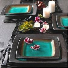 Gibson Ocean Oasis 16-Piece Dinnerware Set Kitchen, Dining Room Turquoise