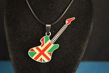 Colorful Union Jack  GUITAR  PENDANT - NECKLACE  flag Jewelry  NEW!  USA SELLER!