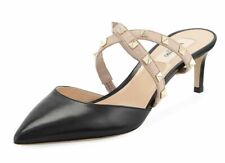 Valentino Rockstud Black Criss Cross Mule Backless Sandal Kitten Heel Pump 39