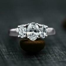 Engagement & Wedding Ring 3.14 Ct Oval Diamond 3 Stone 14k White Gold Certified
