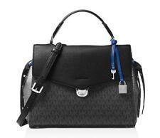 NWT Michael Kors BRISTOL MD TH Satchel Bag BLACK/PEWTER/ET BLUE PVC Leather $348