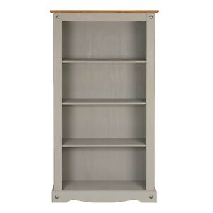 Corona Grey Wax Pine Bookcase 4 Book Shelves Mexican Solid Wood Living Room
