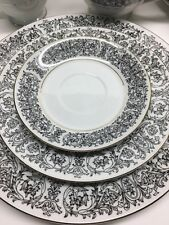 Vintage Retro 42 Piece Royal M Seville China Set Black White Mita An