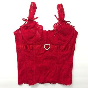 Red Lace Heart Buckle Bustier Underwire Corset Ribbon Boned Sweetheart EUC 36