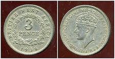 AFRIQUE de L'OUEST  3 pence 1938 KN ( british colony )