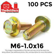 100PCS M6-1.0x16 MM Metric Hex Flange Bolts Grade 10.9 Screws Zinc Yellow
