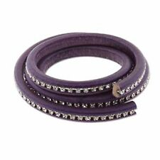Licorice Leather Genuine Real Leather Cord 10 x 7mm with Crystals 20cm Purple