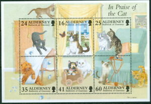 GB - ALDERNEY 1996 In Praise of the Cat Sheet SG MSA95 MNH FELINES DOMESTIC PETS