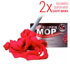 Set 2 Pezzi Ricambi Super Mop EASY! MAXX Rosso Mocio Lavapavimenti Pulisci Casa