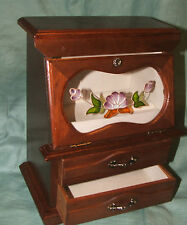 Large vintage box jewellery box wooden display box, 2 draws and glass door