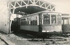 Worthington OH * Ohio Railway Museum RPPC Trolley with Catcher  1940s