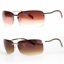 NEW MENS RECTANGULAR RIMLESS SPRING HINGE SUNGLASSES EYEWEAR BLACK GOLD COLOR
