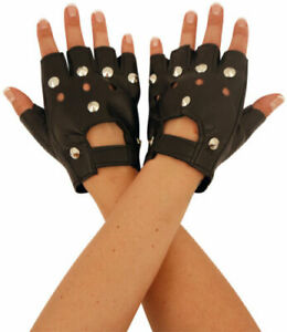 Studded Biker Gloves Fingerless Faux Leather 1980s Punk Driving Gloves