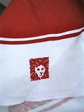 VTG ANNE KLEIN 60 x 84 Oval Tablecloth Lion Logo Rust Cream Cotton Fabric